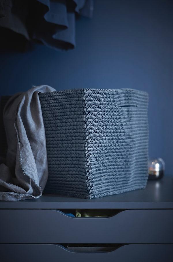 NORDRANA Panier, bleu, 35x26x26 cm