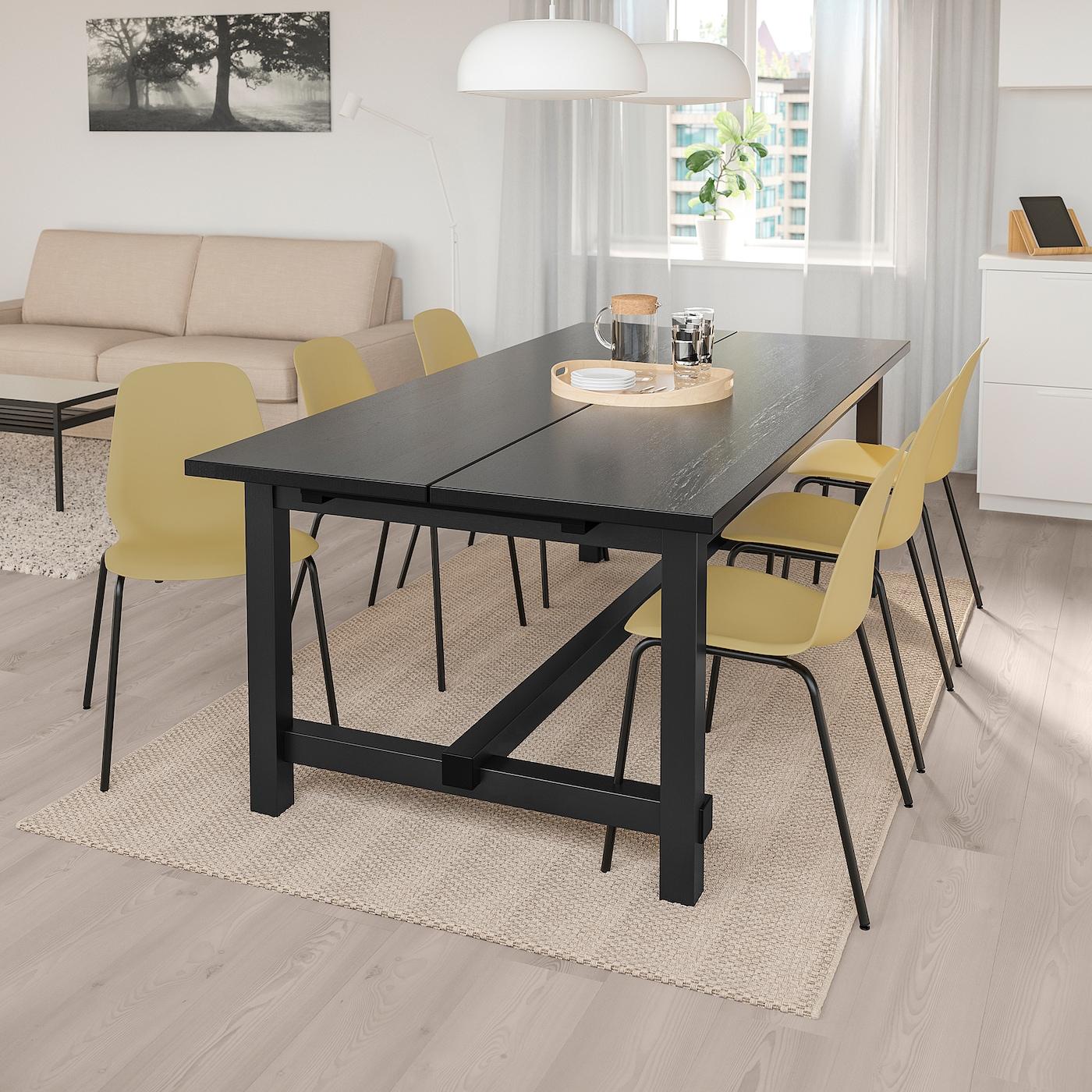 NORDVIKEN LEIFARNE Table et 6 chaises, noir, vert olive