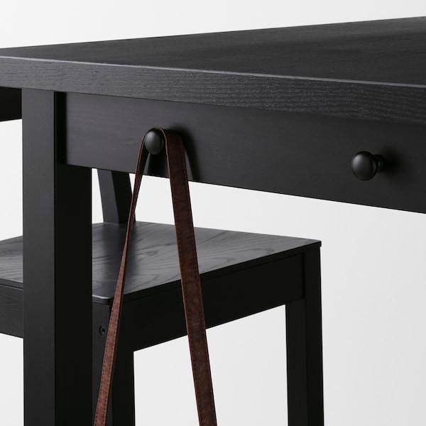 NORDVIKEN Table de bar, noir, 140x80x105 cm