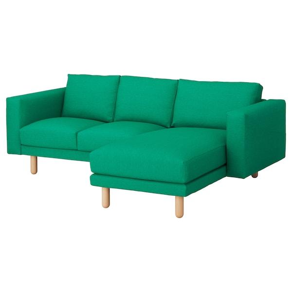 NORSBORG Canapé 3 places, avec méridienne/Edum vert vif/bouleau