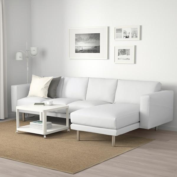 NORSBORG Canapé 4 places, avec méridienne/Finnsta blanc/métal