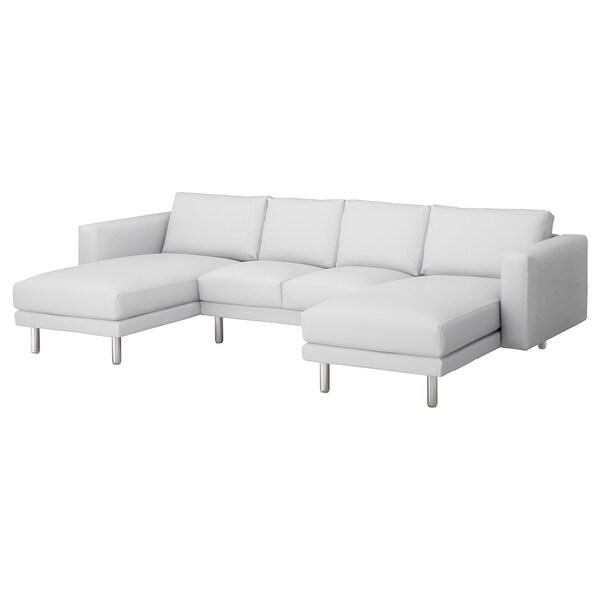 NORSBORG Canapé 4 places, avec méridiennes/Finnsta blanc/métal