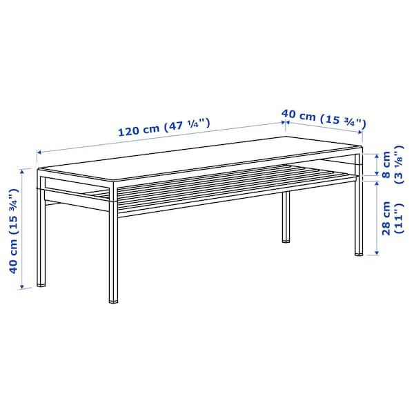NYBODA Table basse avec plateau réversible, gris foncé imitation ciment/noir, 120x40x40 cm