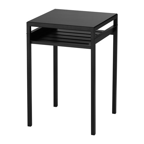 Nyboda table d 39 appoint plateau r versible noir beige ikea for Ikea besta table d appoint