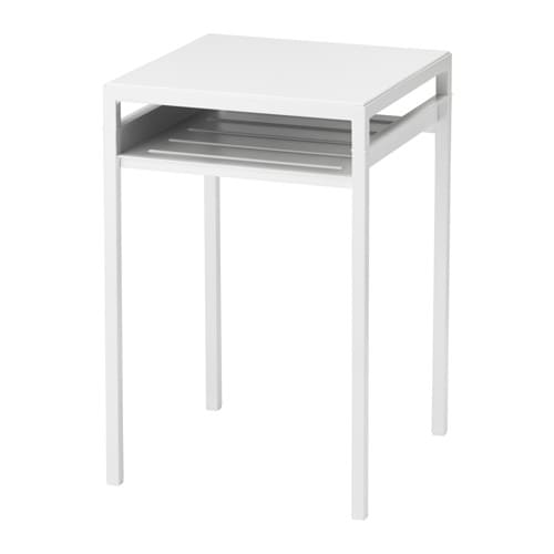 Nyboda table d 39 appoint plateau r versible blanc gris ikea for Ikea besta table d appoint