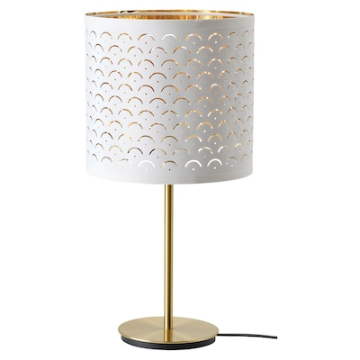 NYMÖ / SKAFTET Lampe de table, blanc laiton/laiton, 24x30 cm