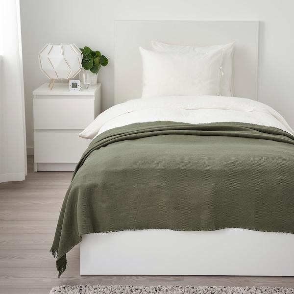 ODDRUN Plaid, vert foncé, 130x170 cm