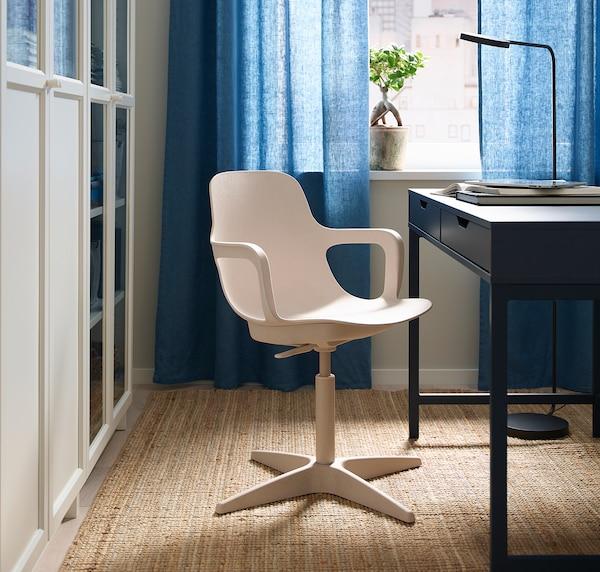ODGER Chaise pivotante, blanc/beige