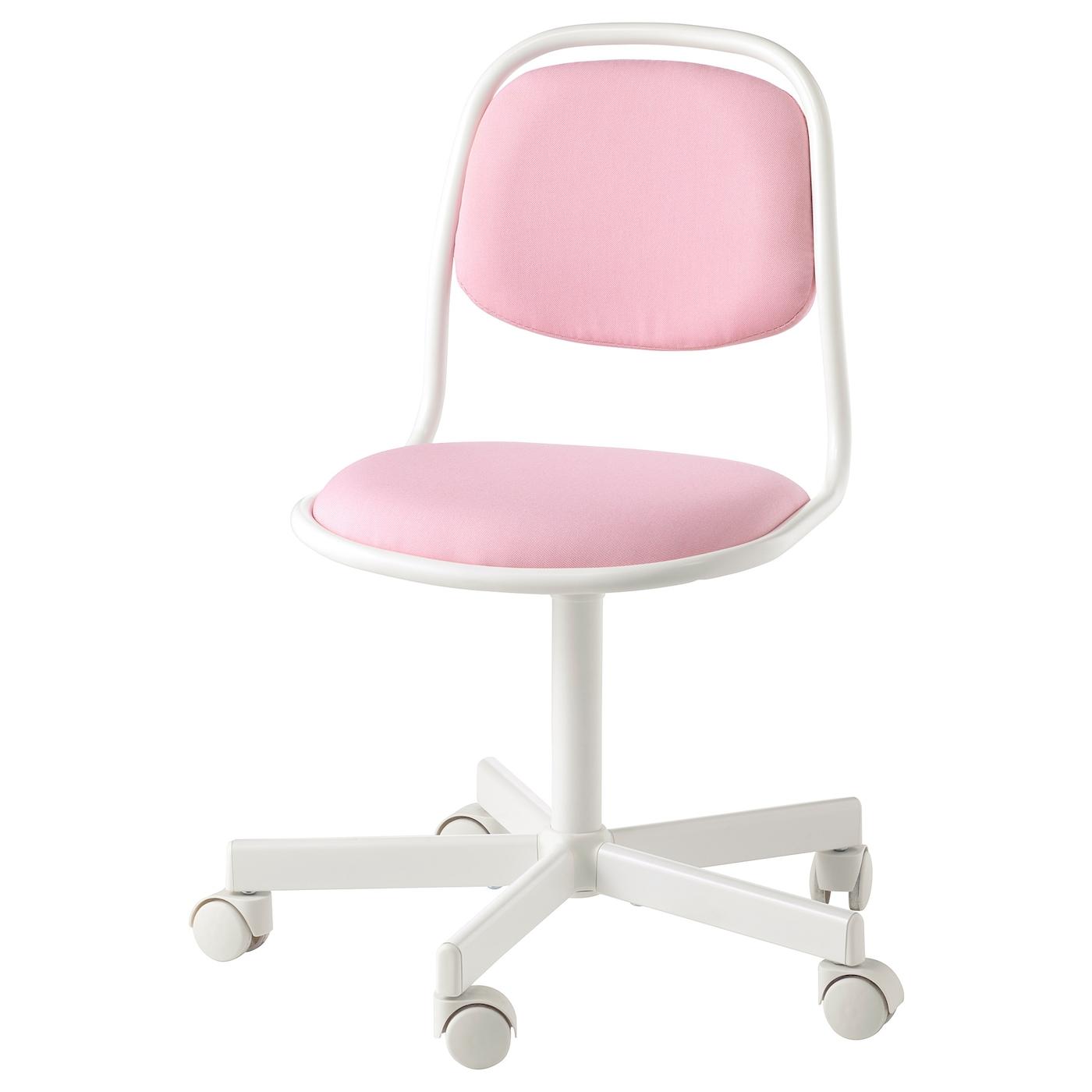 ÖRFJÄLL Chaise de bureau enfant, blanc, Vissle rose IKEA
