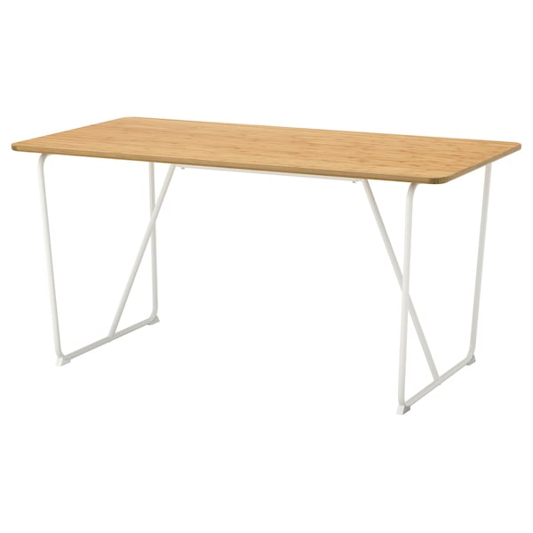 ÖVRARYD Table, bambou/Backaryd blanc, 150x78 cm