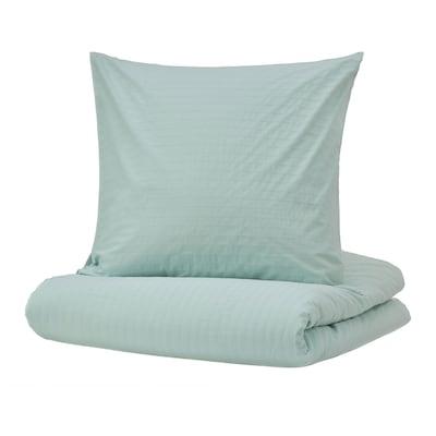 OFELIA Housse de couette et 2 taies, turquoise clair, 240x220/65x65 cm