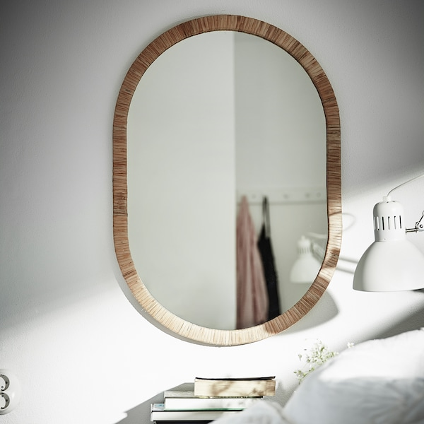 OPPHEM Miroir, rotin, 54x77 cm