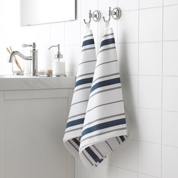 OTTSJÖN Serviette, blanc/bleu, 50x100 cm