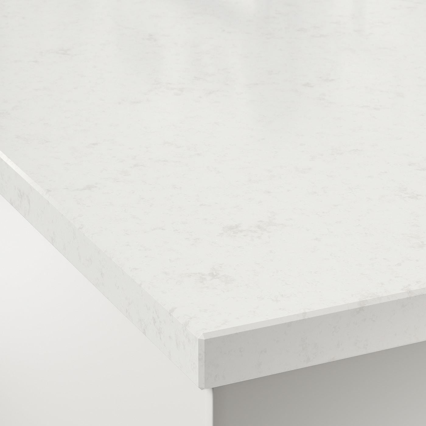 Plan De Travail Neoquartz oxsten plan de travail sur mesure - blanc marbré, quartz 63.6-125x3.8 cm
