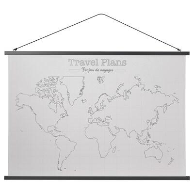 PÅLHULT Poster avec accessoire d'accrochage, Plans de voyage, 100x70 cm