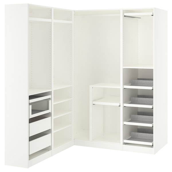 PAX armoire d'angle blanc 201.2 cm 162.8 cm 160.3 cm