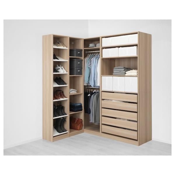 PAX armoire d'angle effet chêne blanchi 236.4 cm 187.8 cm 160.3 cm