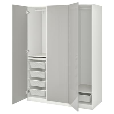 PAX / FARDAL Combinaison armoire, blanc/gris clair brillant, 150x60x201 cm