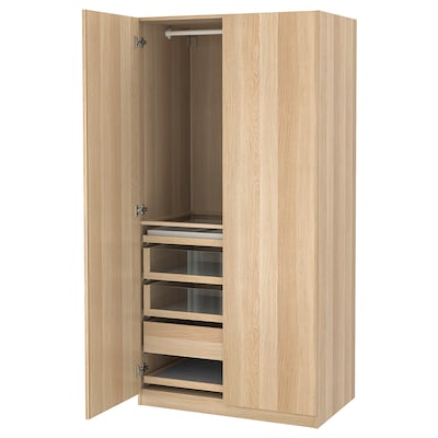 PAX / FORSAND Combinaison armoire, effet chêne blanchi/effet chêne blanchi, 100x60x201 cm