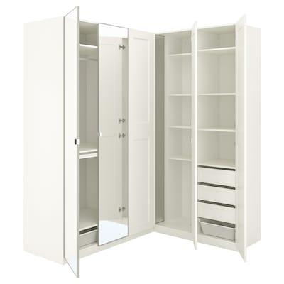 PAX / GRIMO/VIKEDAL Armoire d'angle, blanc/miroir, 210/160x236 cm