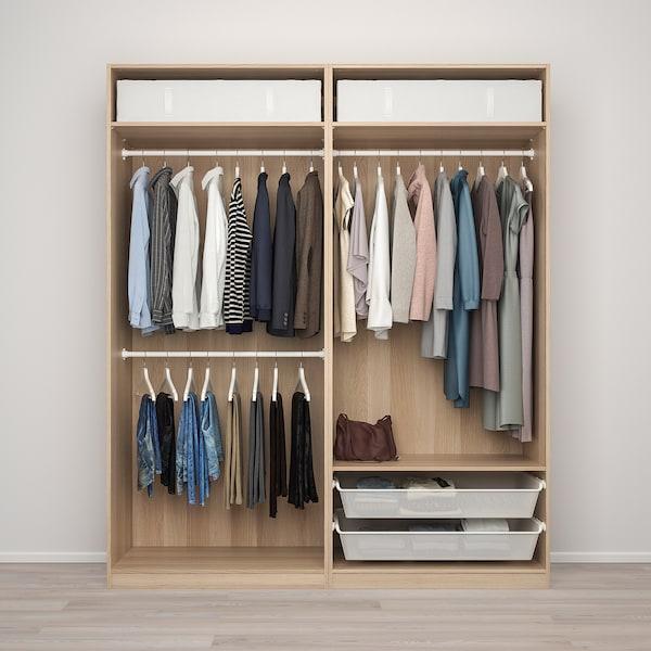 PAX / MEHAMN/AULI Combinaison armoire, effet chêne blanchi/miroir, 200x66x236 cm