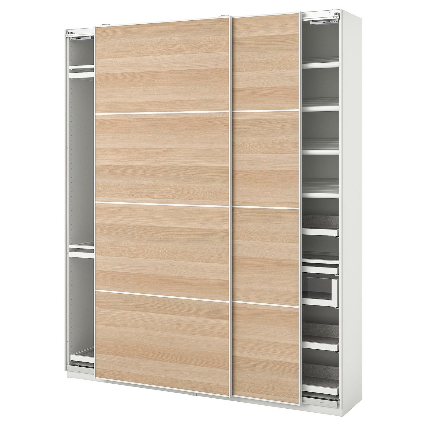 Pax Mehamn Combinaison Armoire Blanc Effet Chene Blanchi 200x44x236 Cm Ikea