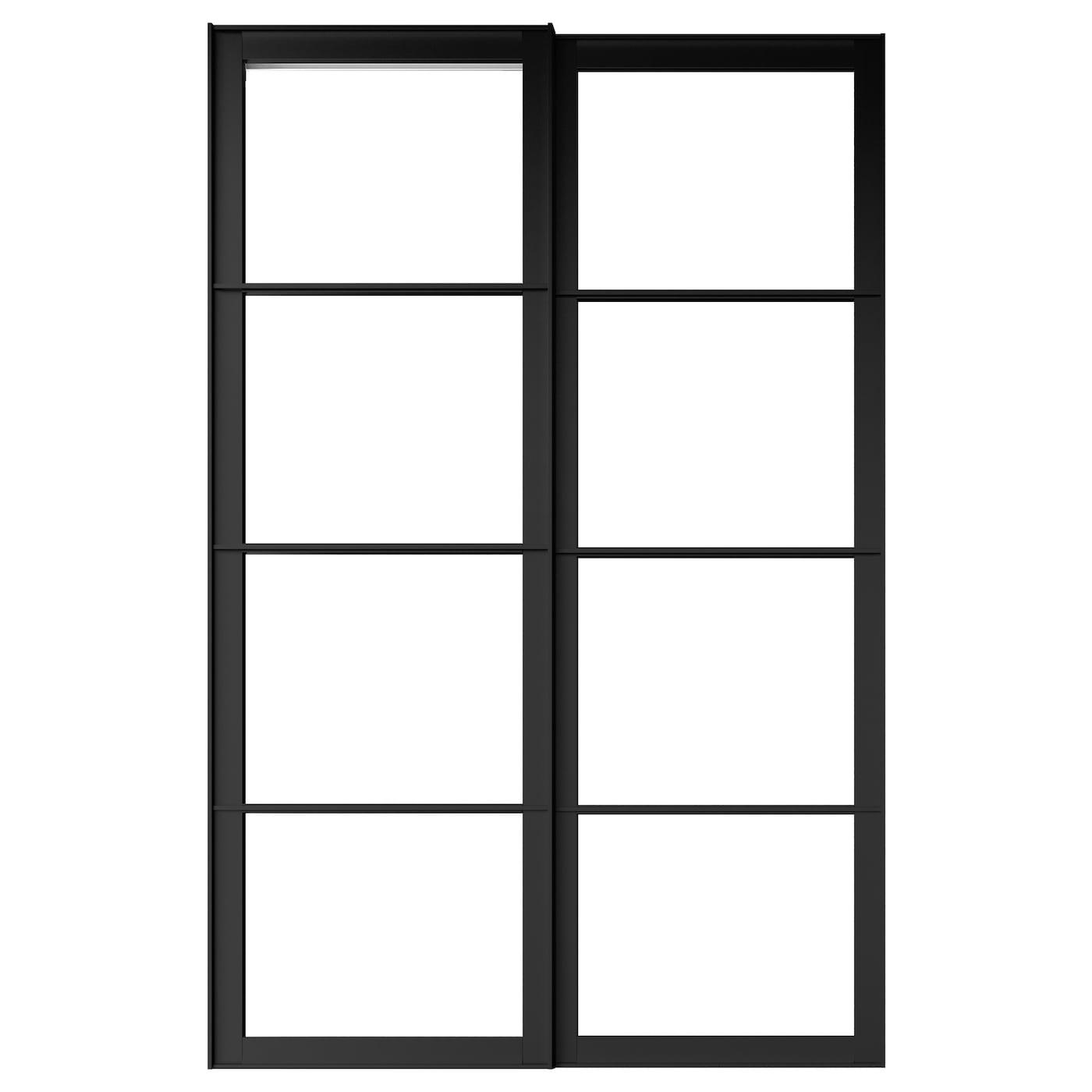 Pax Cadre Porte Coulissante 2pces Noir 150x236 Cm Ikea