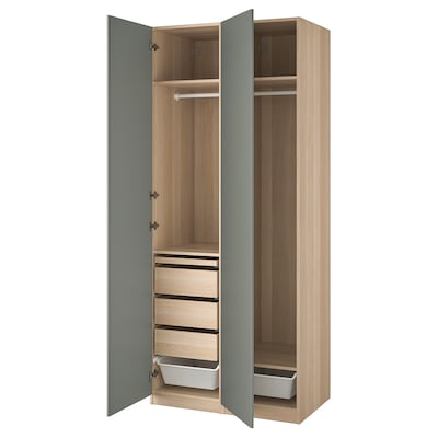 PAX / REINSVOLL Combinaison armoire, effet chêne blanchi/gris vert, 100x60x236 cm