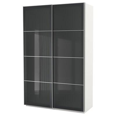 PAX armoire-penderie blanc/Uggdal verre gris 150.0 cm 66.0 cm 236.4 cm