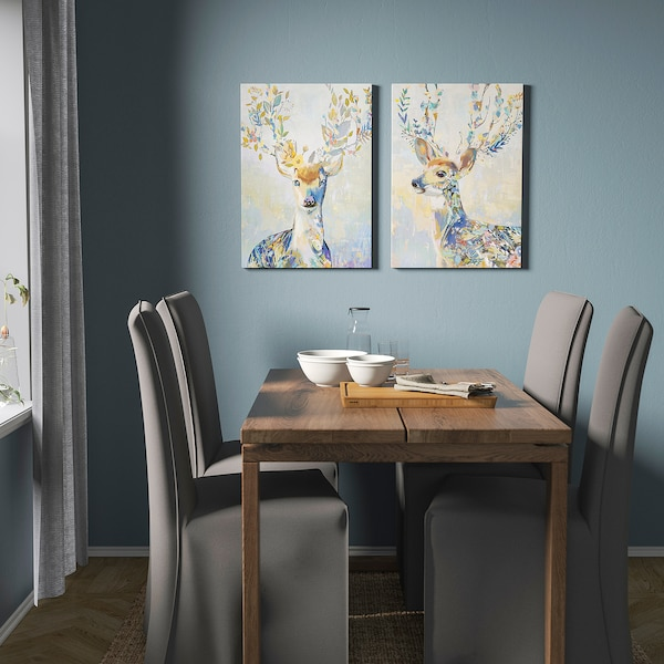 PJÄTTERYD Reproduction, renne coloré, 50x70 cm