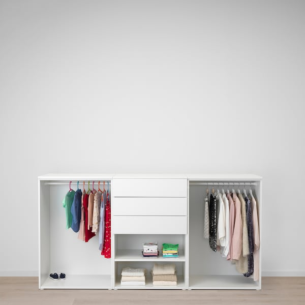 PLATSA Armoire-penderie, blanc/Fonnes Sannidal, 240x57x123 cm