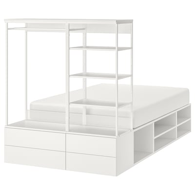 PLATSA Cadre de lit avec 4 tiroirs, blanc/Fonnes, 140x244x163 cm