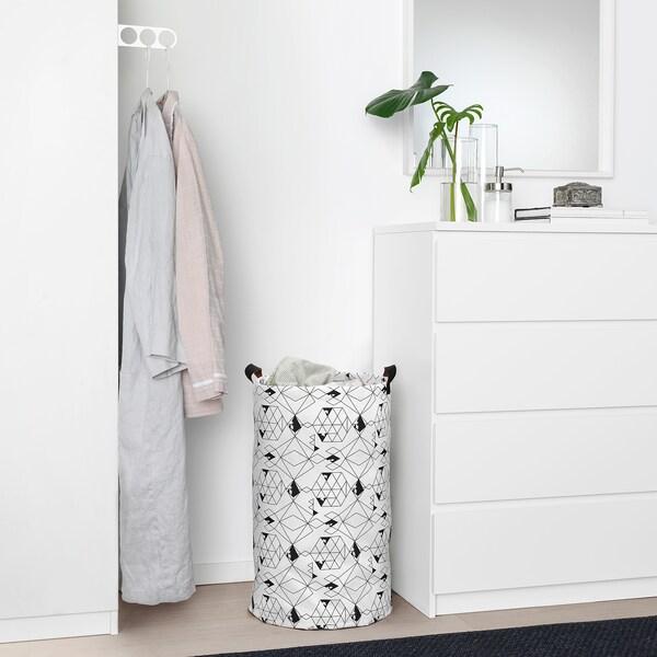 PLUMSA sac à linge blanc/noir 66 cm 36 cm 60 l