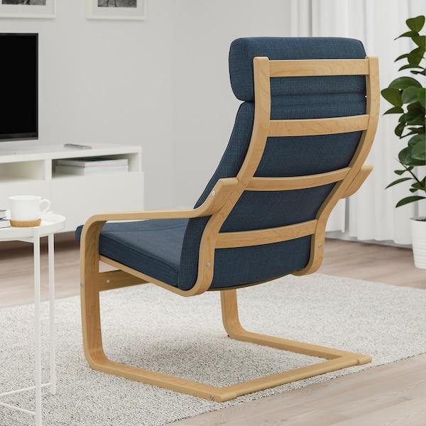 POÄNG fauteuil plaqué bouleau/Hillared bleu foncé 68 cm 82 cm 100 cm 56 cm 50 cm 42 cm