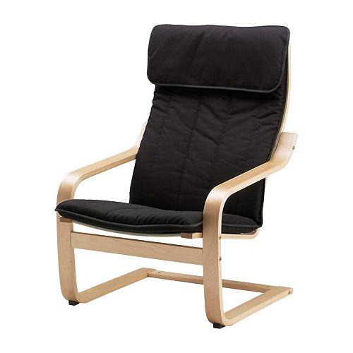 Po ng coussin fauteuil alme noir ikea for Housse fauteuil poang