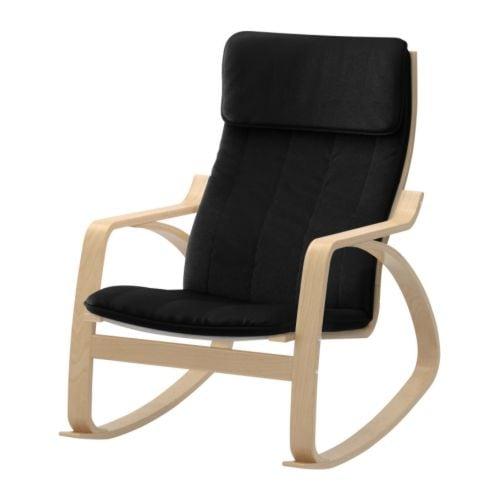 Po ng fauteuil bascule alme noir plaqu bouleau ikea - Fauteuil a bascule ikea ...