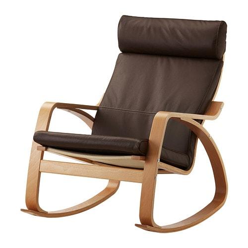 Po ng fauteuil bascule glose brun fonc plaqu h tre ikea - Ikea fauteuil poang cuir ...