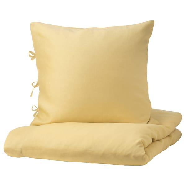 PUDERVIVA Housse de couette et 1 taie, jaune clair, 150x200/65x65 cm