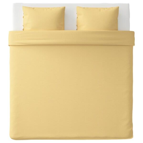 PUDERVIVA Housse de couette et 2 taies, jaune clair, 240x220/65x65 cm