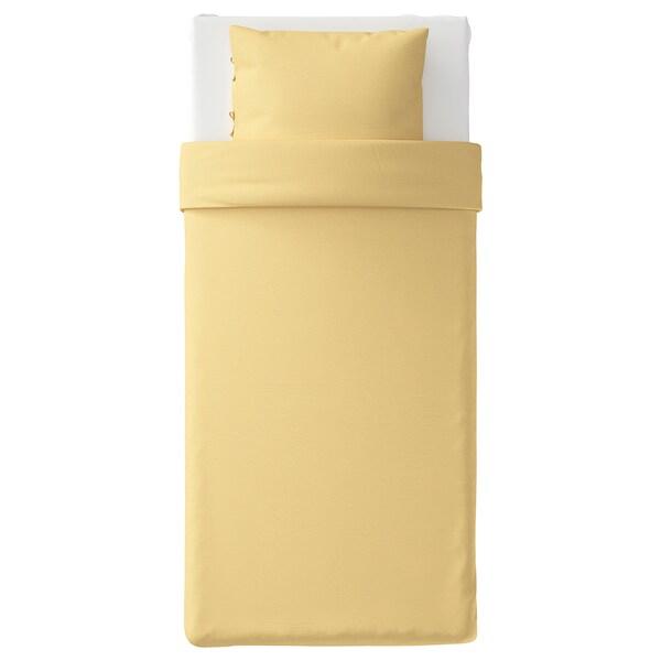 PUDERVIVA Housse de couette et taie, jaune clair, 150x200/65x65 cm