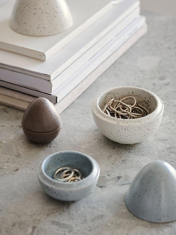 RÅDFRÅGA Décoration 3 pièces, oeuf brun/gris/blanc