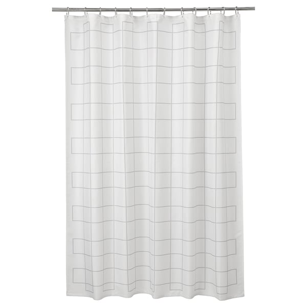 RÄLLSJÖN Rideau de douche, blanc/gris, 180x200 cm