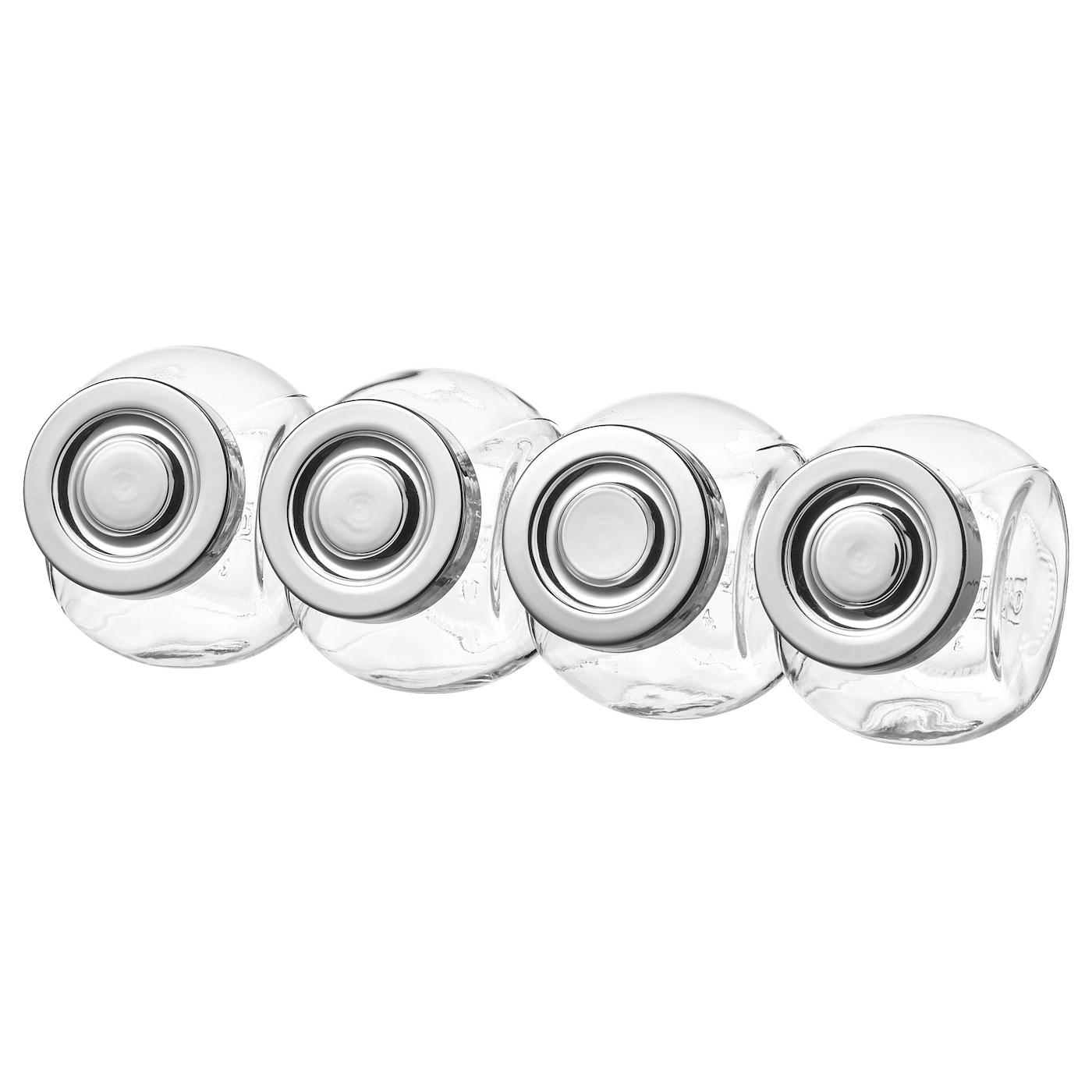 RAJTAN Bocaux à épices, verre, couleur aluminium, 15 cl
