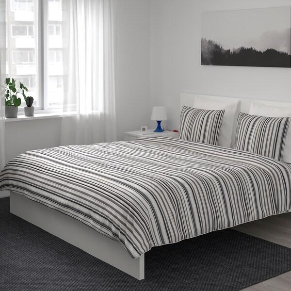 RANDGRÄS Housse de couette et 2 taies, gris/rayure, 240x220/65x65 cm