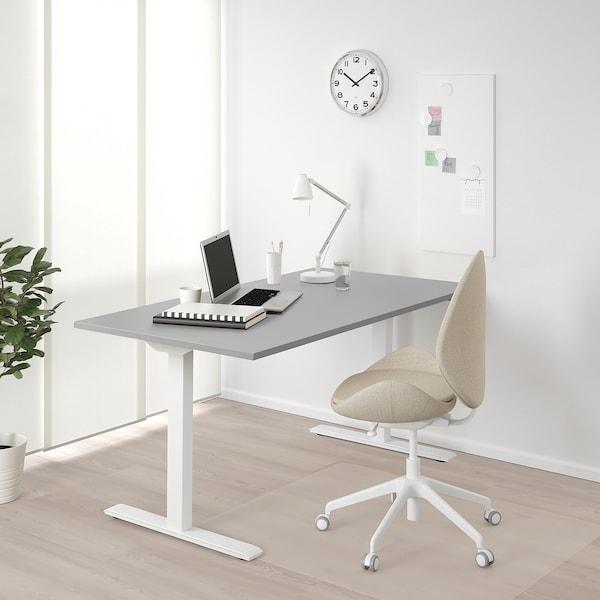 RODULF bureau assis/debout gris/blanc 140 cm 80 cm 65 cm 117 cm 70 kg
