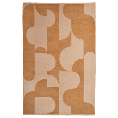 RÖDASK Tapis tissé à plat, brun clair, 133x195 cm