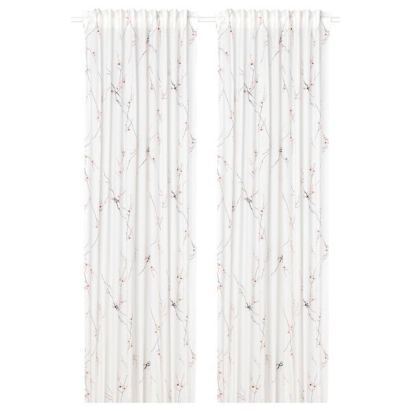 RÖDLÖNN Rideaux, 2 pièces, blanc/fleur, 145x300 cm