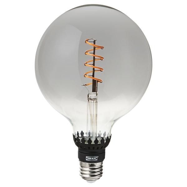 ROLLSBO Ampoule LED E27 200 lumen, intensité lumineuse réglable/globe verre gris transparent, 125 mm