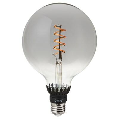 ROLLSBO ampoule LED E27 200 lumen intensité lumineuse réglable/globe verre gris transparent 1800 Kelvin 200 lm 125 mm 5.5 W 1 pièces