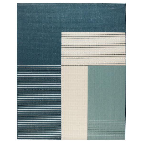 Tapis tissé à plat ROSKILDE intérieur/extérieur vert bleu